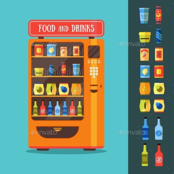 Vending Machine With Food And Drink Packaging Set