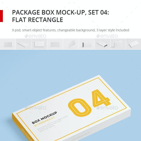 Package Box Mock-up, Set 4: Flat Rectangle Box