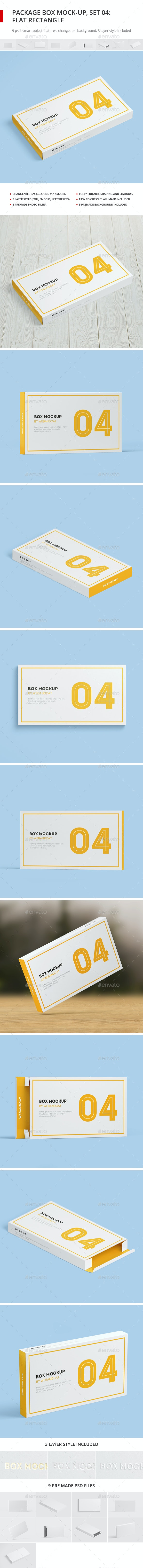 Package Box Mock-up, Set 4: Flat Rectangle Box - Miscellaneous Packaging