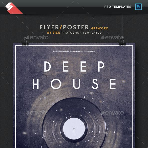 Deep House - Minimal Party Flyer / Poster Template A3