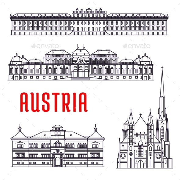 Historic Buildings and Sightseeings of Austria - Travel Conceptual