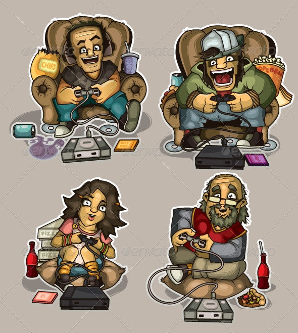 Crazy gamers - People Characters