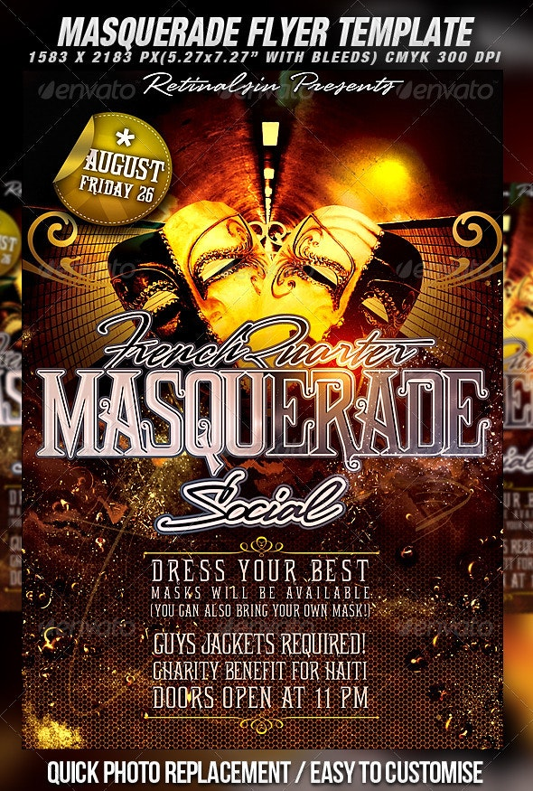 Masquerade Flyer Template - Clubs & Parties Events