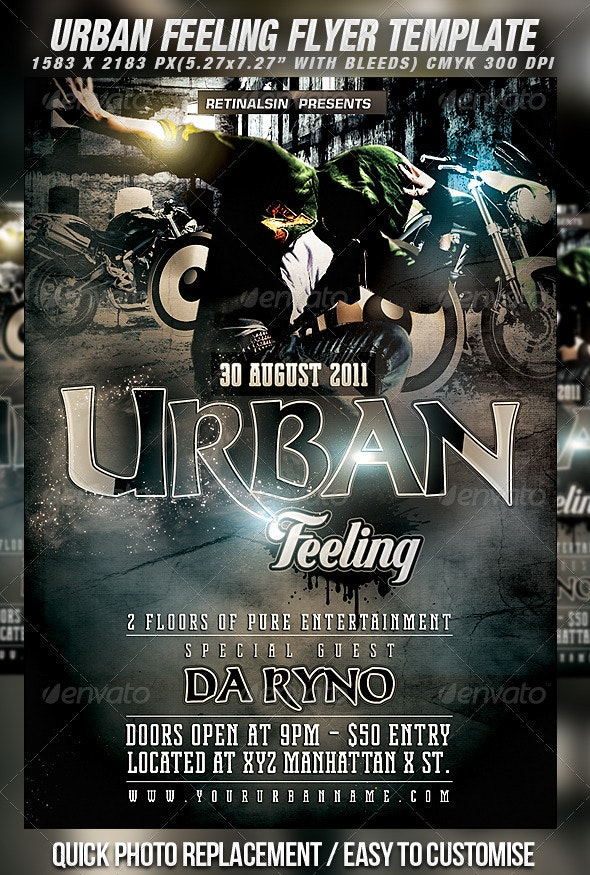 Grunge/Urban Flyer Template - Clubs & Parties Events