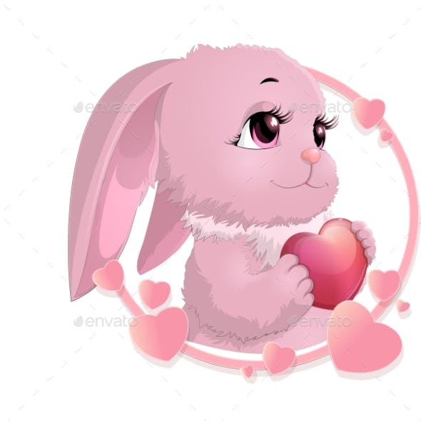 Rabbit Surrounded by Hearts