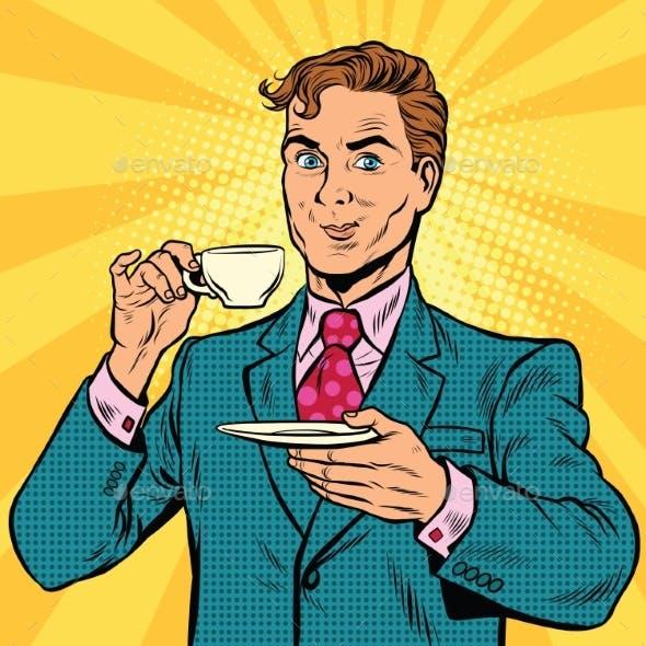 Retro Businessman Drinking Tea