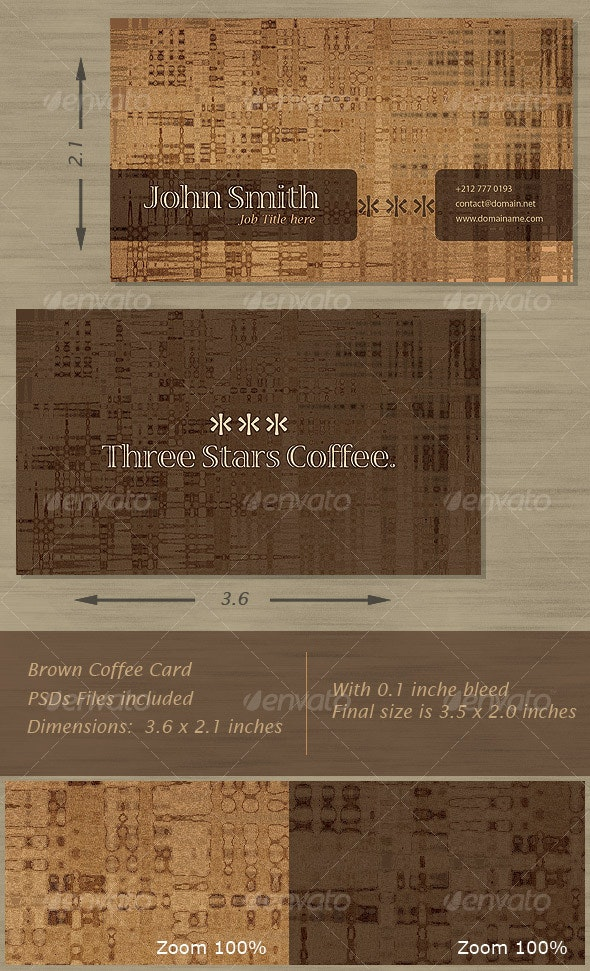 Brown Coffee Card - Grunge Business Cards