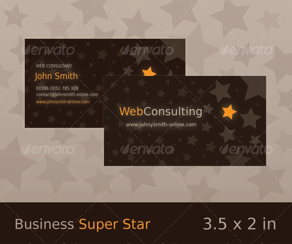 Super Star - Brown / Orange Business Card - Creative Business Cards