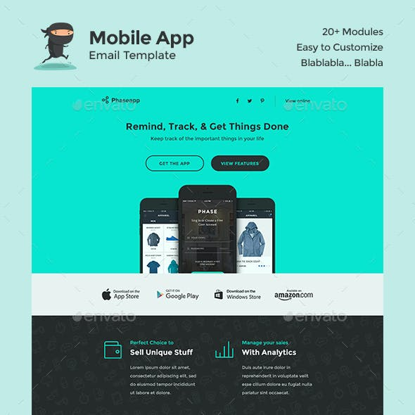 PhaseApp Mobile App E-Newsletter PSD Template