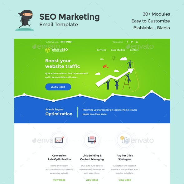 PhaseSEO - SEO Marketing E-Newsletter PSD Template