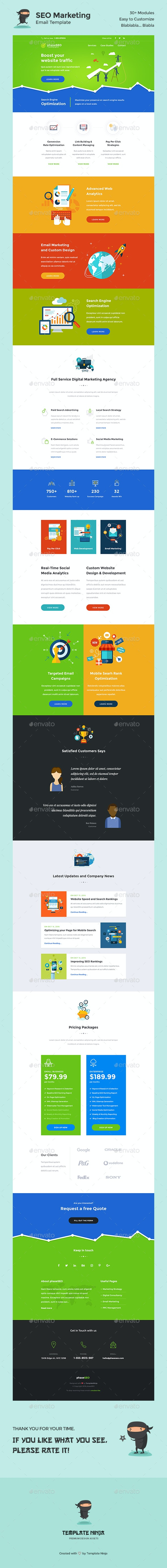 PhaseSEO - SEO Marketing E-Newsletter PSD Template - E-newsletters Web Elements