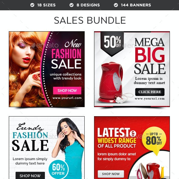 Sales Banners Bundle - 8 Sets - 144 Banners