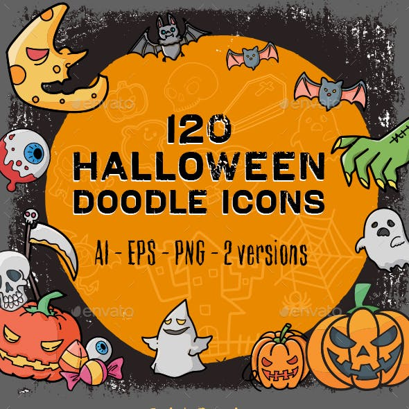 120 Halloween Doodle Icon Set