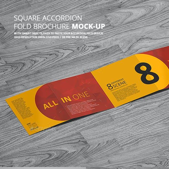 Square Accordion Fold Brochure Mock-Up