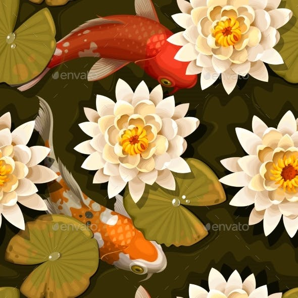 Seamless Carps And Lotus