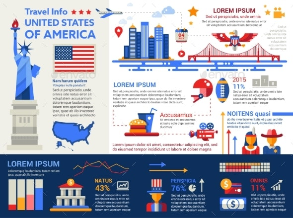 USA Travel Info - Poster, Brochure Cover Template - Travel Conceptual