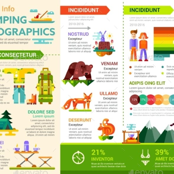 Camping Infographics - Poster, Brochure Cover