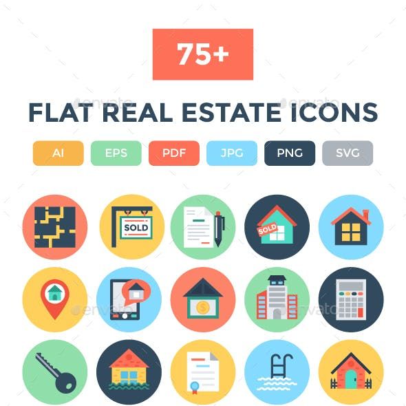 75+ Flat Real Estate Icons
