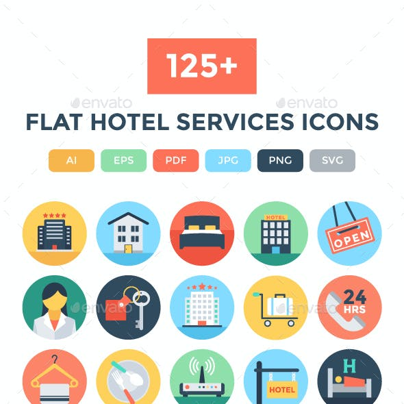125+ Flat Hotel Services Icons