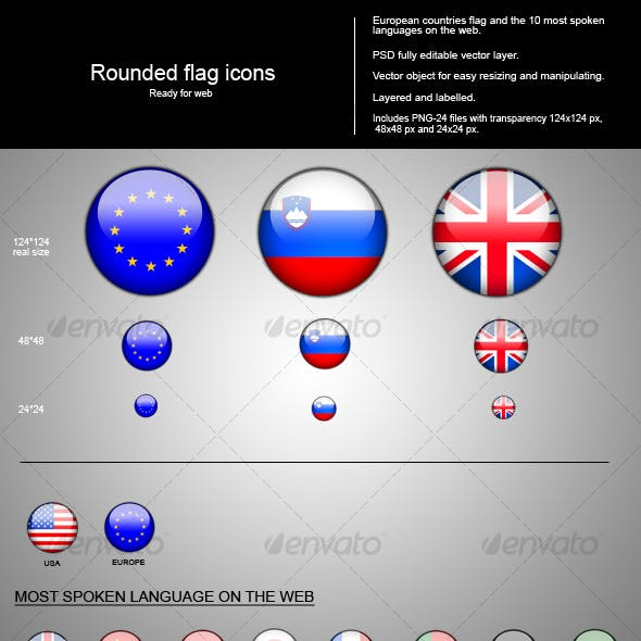 Rounded flags icon