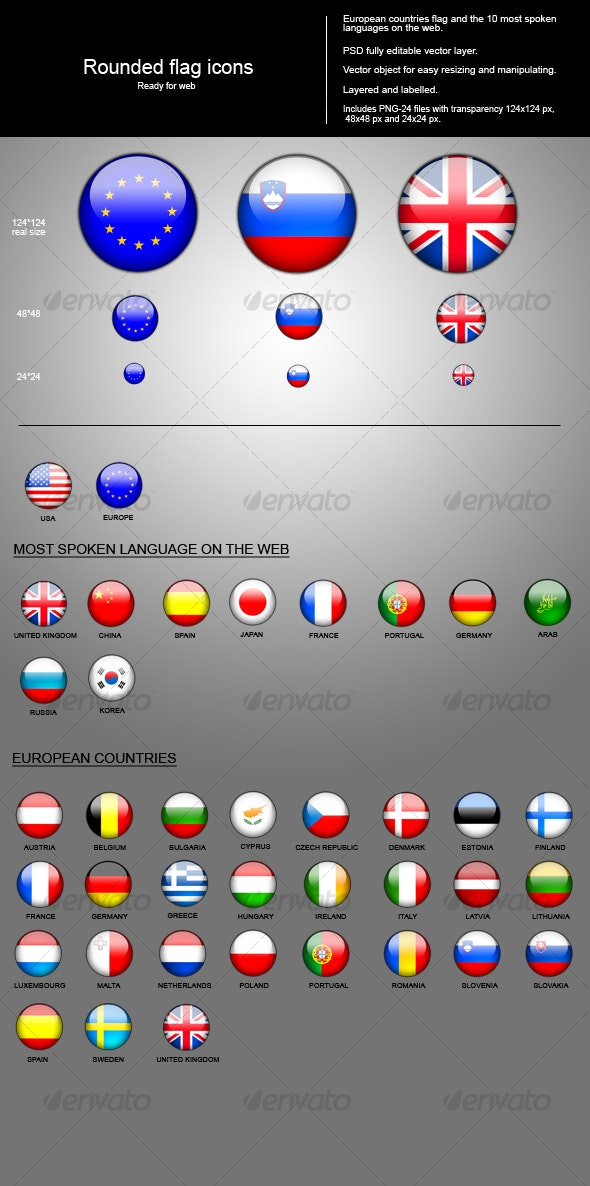 Rounded flags icon - Web Icons