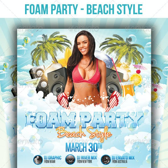 Foam Party Beach Style - Flyer Template