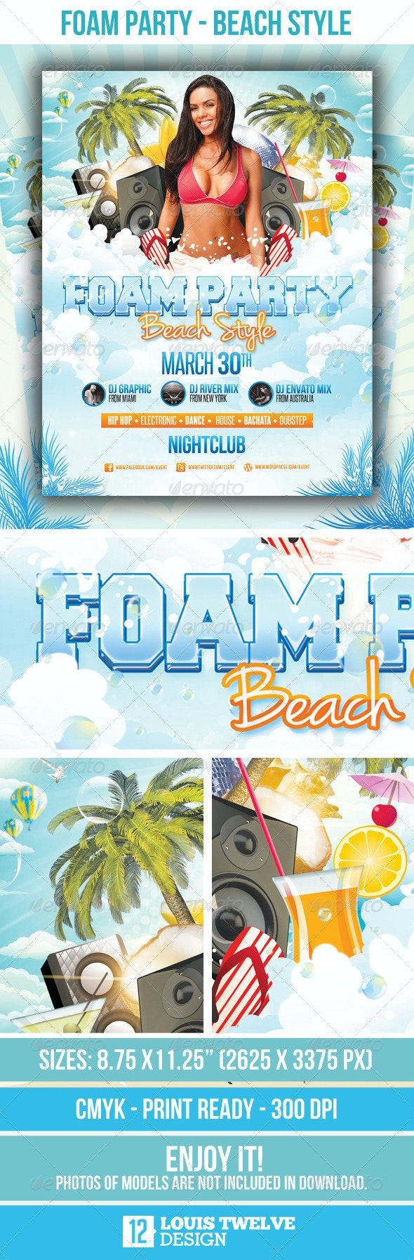 Foam Party Beach Style - Flyer Template - Clubs & Parties Events