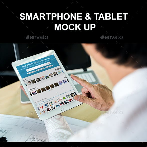 Businessman Holding Tablet Mockup Templates