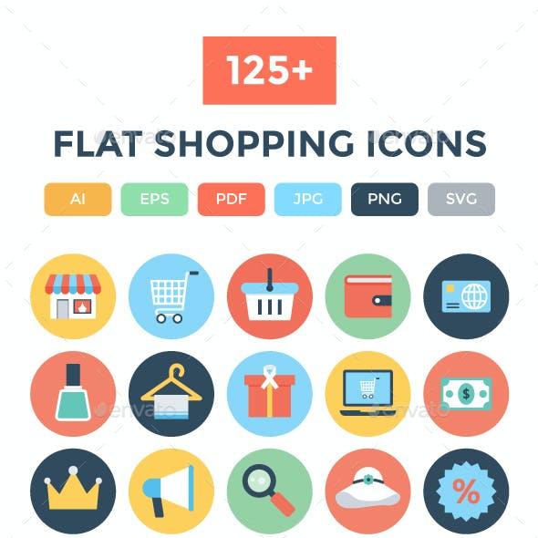 125+ Flat Shopping Icons
