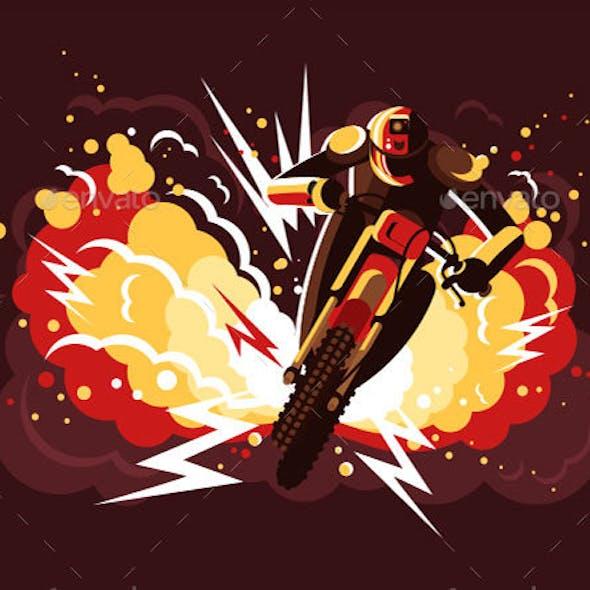 Stuntman On Motorcycle