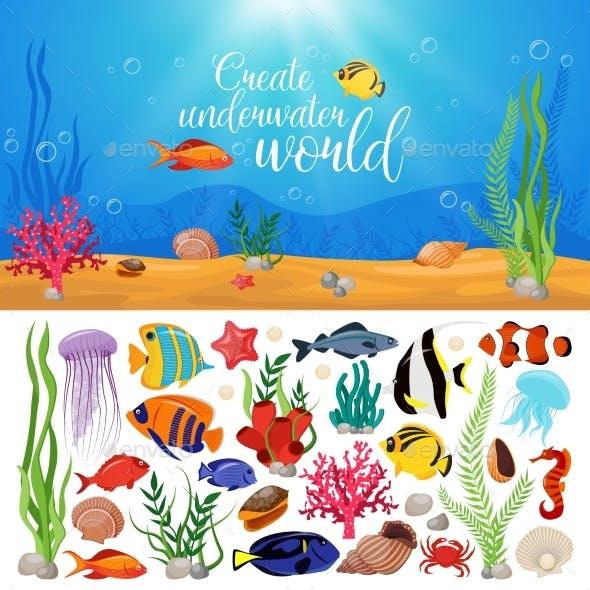Sea Life Animals Plants Composition