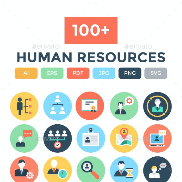 100+ Flat Human Resources Icons
