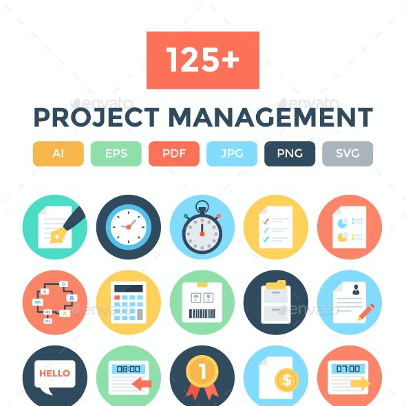 125+ Flat Project Management Icons