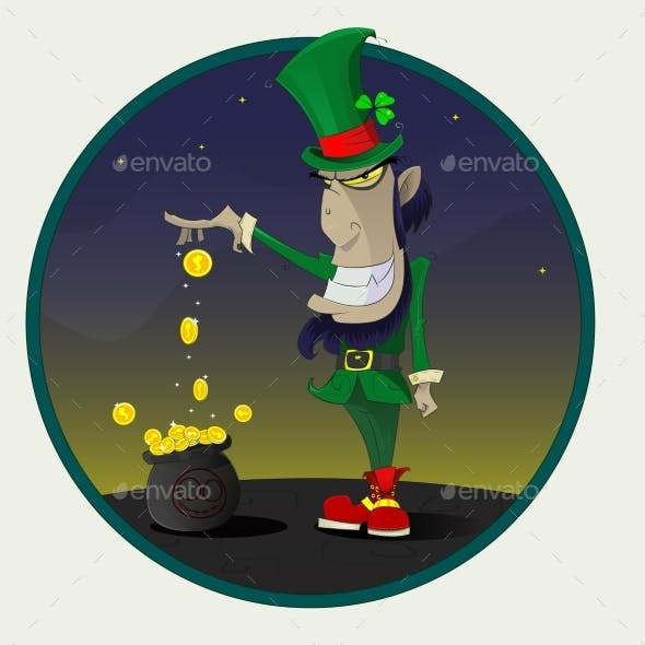 Irish Leprechaun with Gold