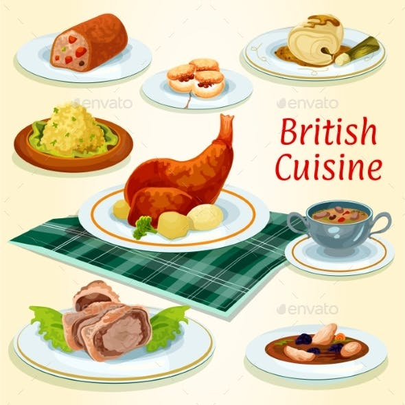 British Cuisine Icon with Popular Dinner Dishes
