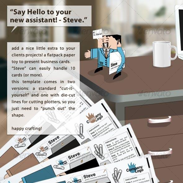 """flatpack papertoy & businesscard-holder - """"Steve"""""""