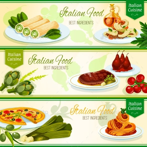 Italian Cuisine Restaurant Menu Banners Design