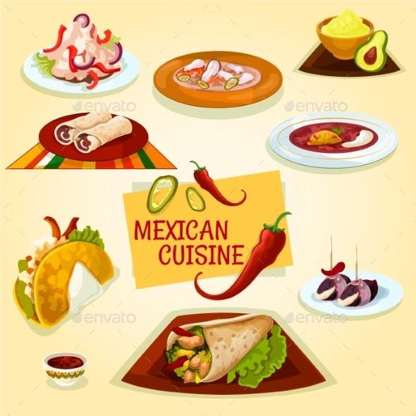 Mexican Cuisine Taco, Burrito and Tortilla Icon