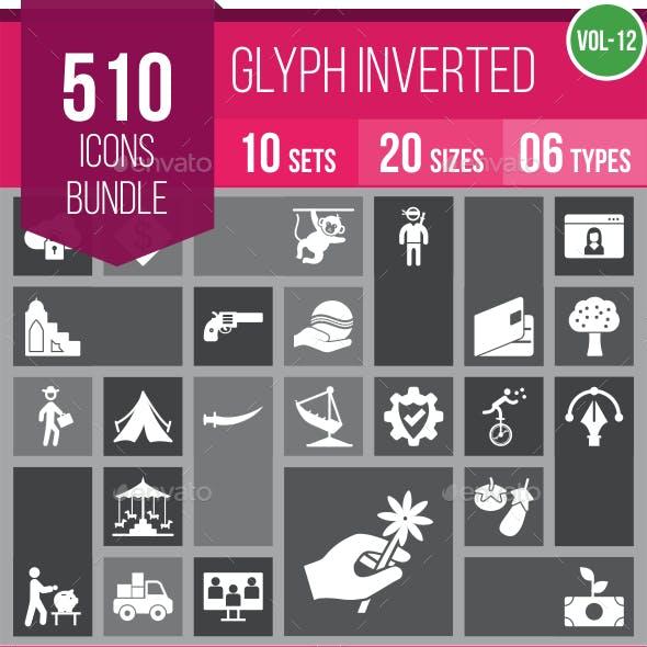 510 Vector Glyph Inverted Icons Bundle (Vol-12)