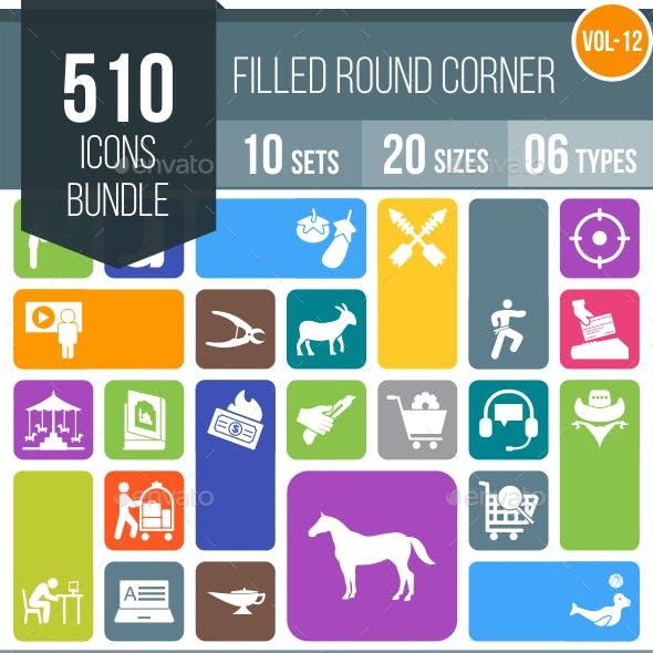510 Vector Flat Round Corner Icons Bundle (Vol-12)