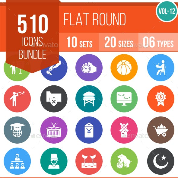 510 Vector Flat Round Icons Bundle (Vol-12)