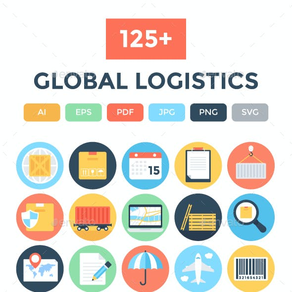 125+ Flat Global Logistics Icons