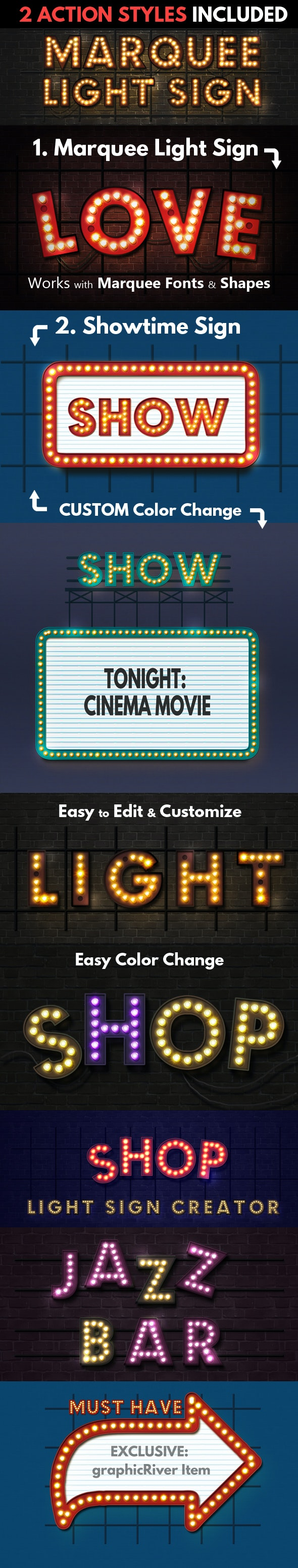 Marquee Lights and Showtime Sign Photoshop Actions - Text Effects Actions