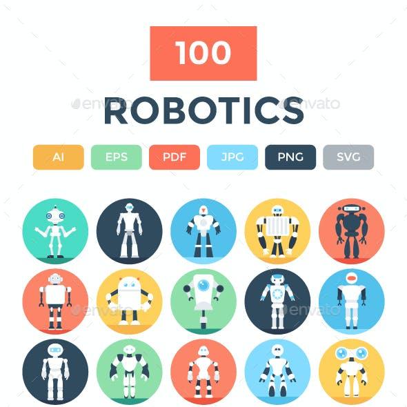 100 Flat Robotics Vector Icons