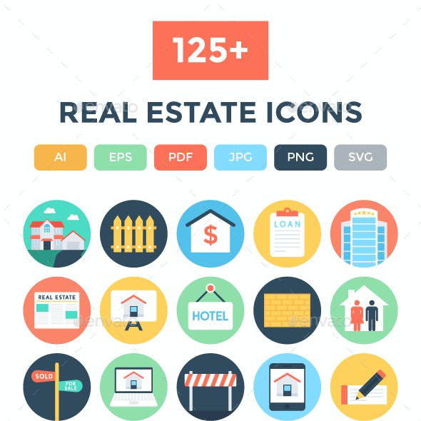 125+ Flat Real Estate Icons
