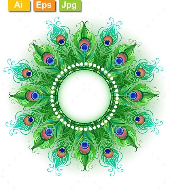 Mandala of Green Peacock Feathers - Borders Decorative