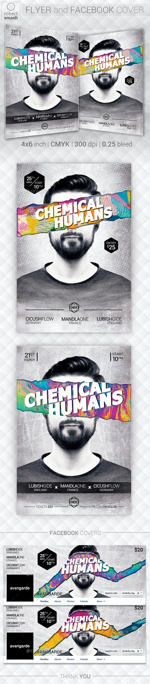 Chemical Humans Music Flyer - Clubs & Parties Events