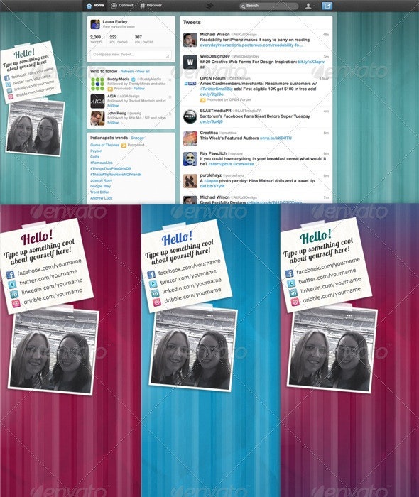 Colorful Lined Twitter Backgrounds - Twitter Social Media