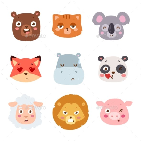 Animal Emotion Avatar Vector Illustration Icons