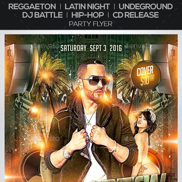 Reggaeton / Latin Night / Underground / Dj Battle / Hip-Hop /  CD Release / Party Flyer